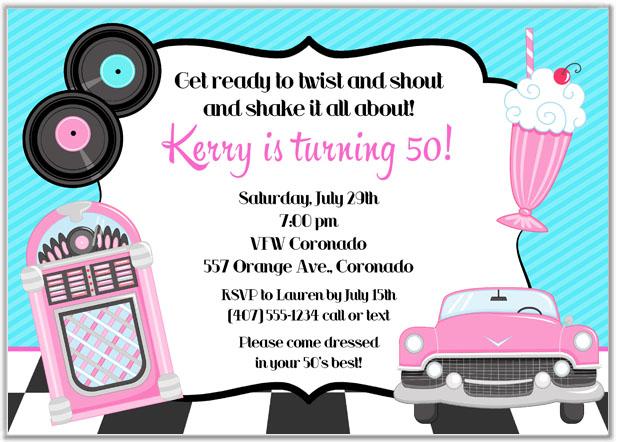 50s theme birthday party invitations