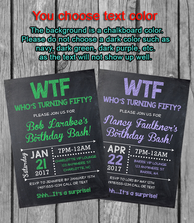 50th Birthday Party Invitations, WTF Who\'s Turning Fifty
