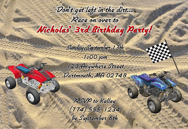 ATV 4 Wheeler Birthday Party Invitations