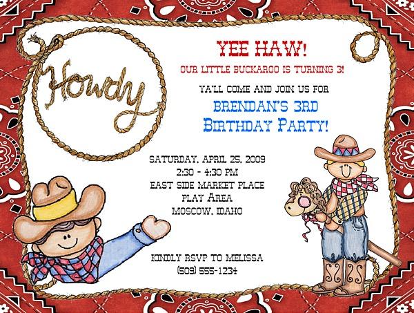cowboy birthday party invitations  cowboy cowgirl  kids birthday, invitation samples