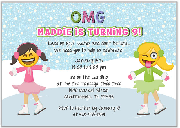 Emoji Ice Skating Birthday Party Invitations Kids Birthday