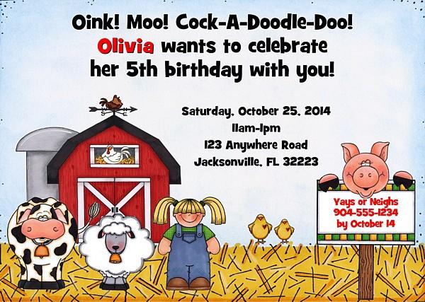 Farm Animals Birthday Party Invitations Boy Girl Farm Animals