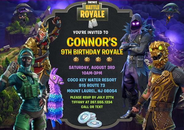 fortnite birthday party invitations