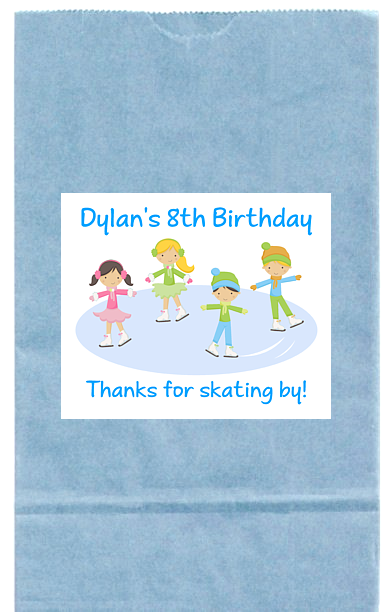 Ice Skating Birthday Party Goodie Loot Bag Labels Favors