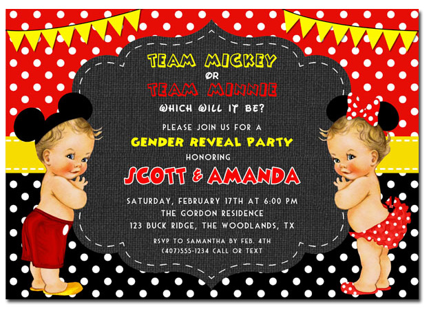 Team Mickey Or Team Minnie Gender Reveal Invitations Baby Shower