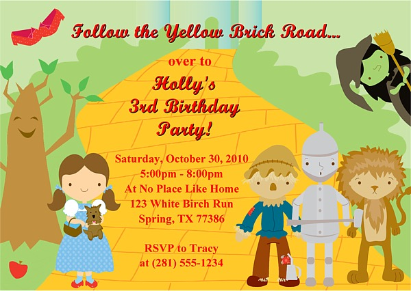 Wizard of Oz Birthday Party Invitations Wizard of Oz Kids Birthday