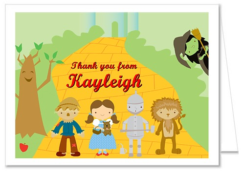 Wizard of oz birthday party thank you note cards personalized oz birthday party thank you note cards wizard bookmarktalkfo Image collections