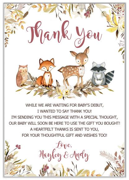 Wondrous Woodland Animals Baby Shower Thank You Cards Funny Birthday Cards Online Ioscodamsfinfo