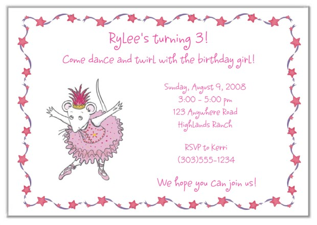 Angelina Ballerina Birthday Party Invitations Balletangelina