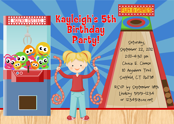 arcade game birthday party invitations