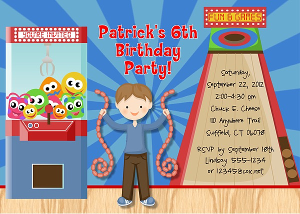 Arcade Game Birthday Party Invitations Arcade Game Kids Birthday
