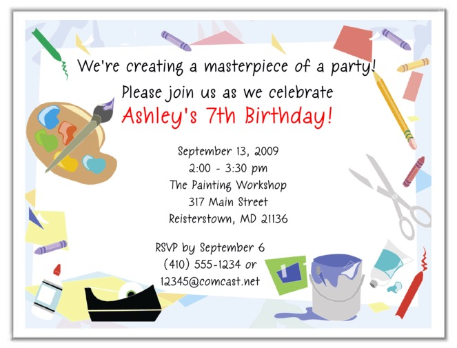 Arts and crafts birthday party invitations arts and for Arts and crafts birthday party