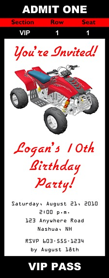 ATV 4 Wheeler Birthday Party Ticket Invitations | ATV 4 Wheeler | Kids  Birthday  Party Ticket Invitations