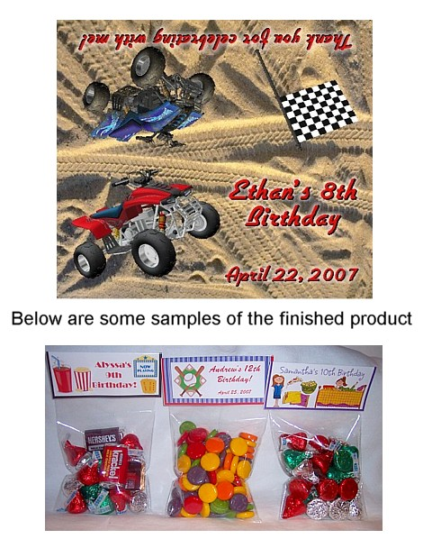 ATV 4 Wheeler Birthday Party Bag Toppers W Recloseable Bags