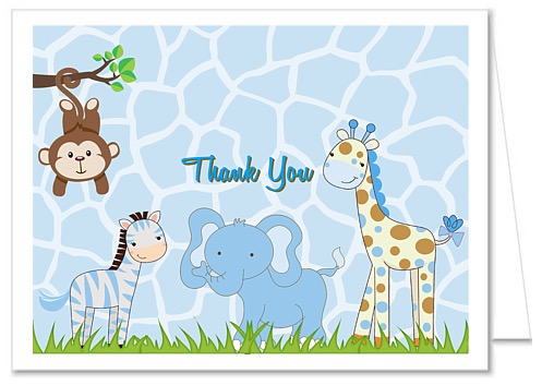 Jungle Animals Boy Baby Shower Thank You Note Cards
