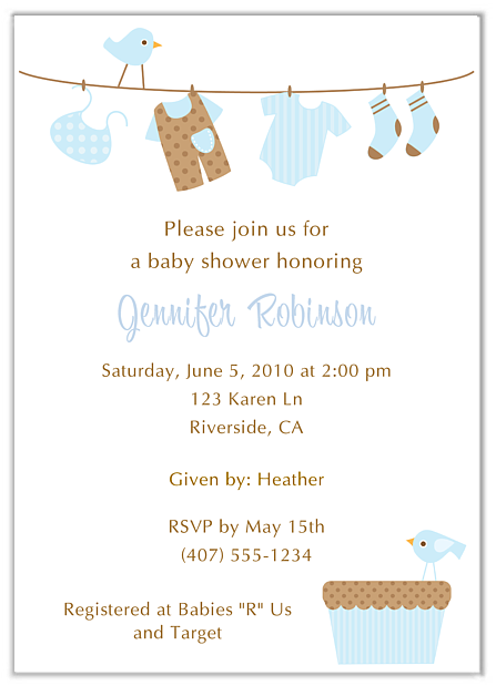 trendy clothesline baby shower invitations boy girl, Baby shower invitation