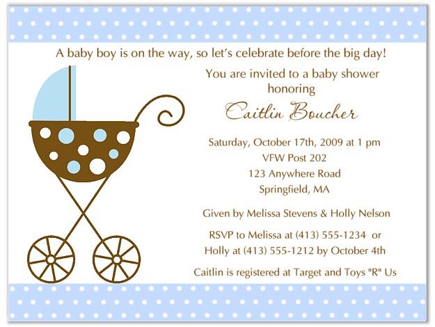 stroller fun boy blue polka dots baby shower invitations | baby shower, Baby shower invitations
