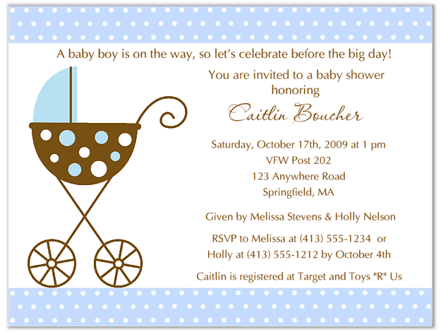 Stroller Fun Boy Blue Polka Dots Baby Shower Invitations  Baby Shower