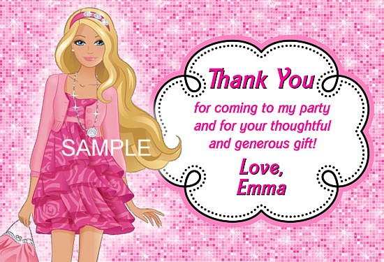 Barbie Thank You Cards Personalized