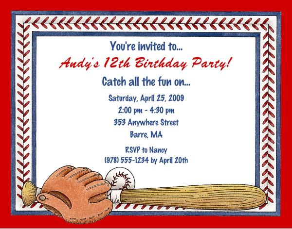 baseball birthday party invitations  baseball  sports  kids, Birthday invitations