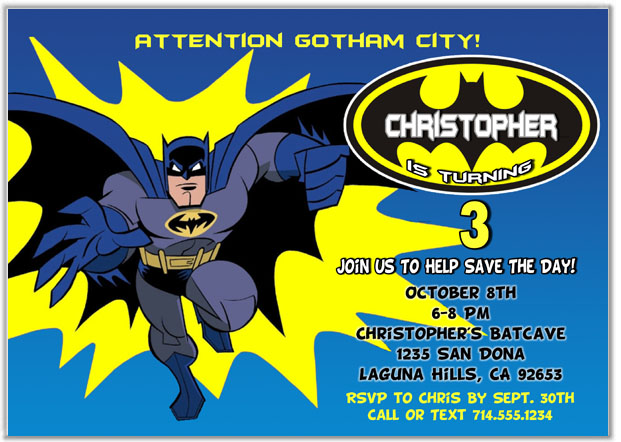Catalog Batman Birthday Party Invitations