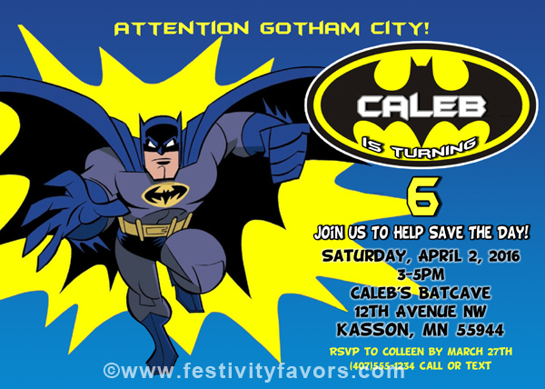 Batman Birthday Party Invitations | Kids Birthday