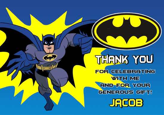 Fabulous Batman Thank You Cards Personalized Funny Birthday Cards Online Hetedamsfinfo