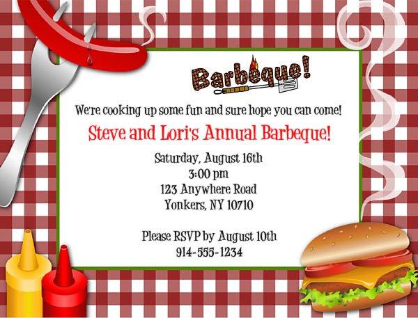 bbq barbecue and summer party invitations