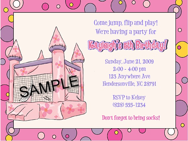 bounce house castle inflatable birthday party invitations bounce house kids birthday. Black Bedroom Furniture Sets. Home Design Ideas