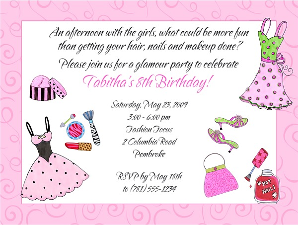 Glamour Girl Makeup Dress Up Birthday Party Invitations – Makeover Party Invitations