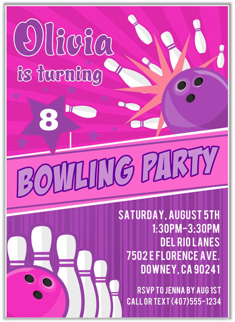 Bowling Birthday Party Invitations Girl Bowling Sports Kids