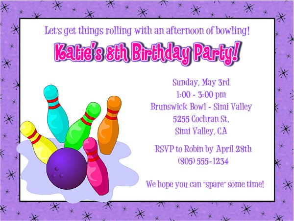 Bowling Birthday Party Invitations Boy Bowling Sports Kids