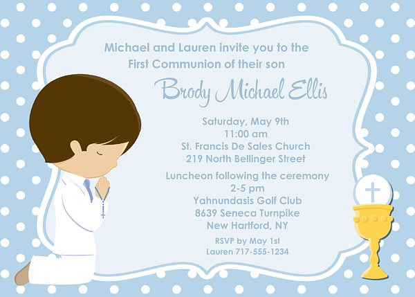 First Holy Communion Boy Invitations Religious