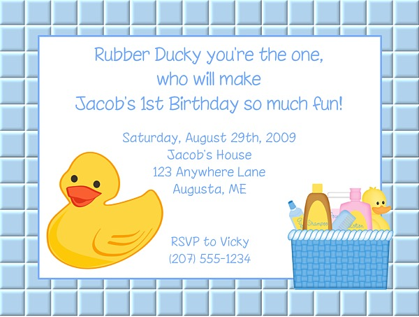 Rubber Duck Birthday Party Invitations Boy Ducky – Rubber Duck Birthday Invitations