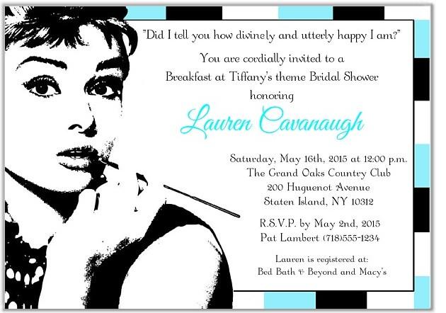 breakfast at tiffanys bridal shower invitations