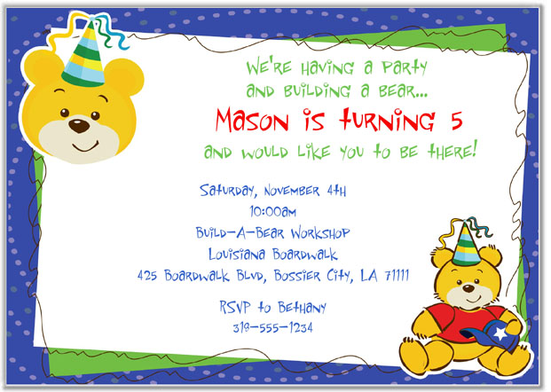 Build a Bear Workshop Birthday Party Invitations Boy – Build a Bear Invitations Birthday