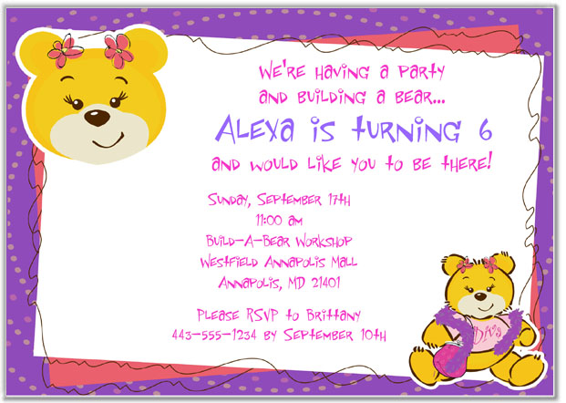 Build a Bear Workshop Birthday Party Invitations Build a Bear