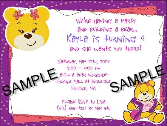 Build a Bear Workshop Birthday Party Invitations – Build a Bear Birthday Invitations