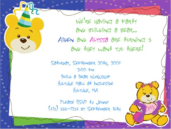 Build a Bear Workshop Birthday Party Invitations Boy or Girl | Build a Bear | Kids Birthday