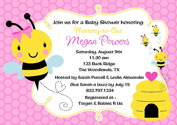 bumble bee baby shower invitations baby shower