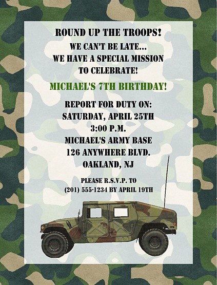 Camouflage Military Army Birthday Party Invitations ...