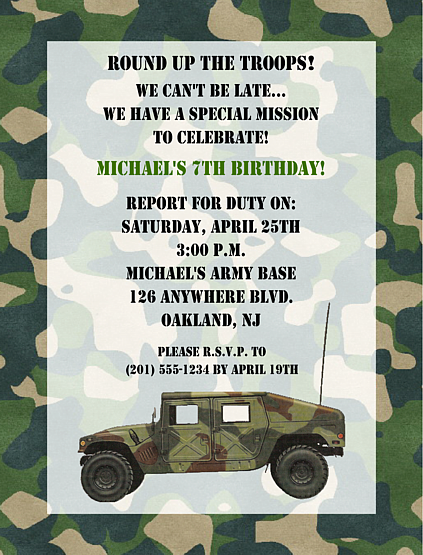 military army birthday party invitations camouflage military army ...