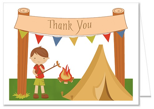 Catalog > Camp Out Camping Boy Thank You Note Cards
