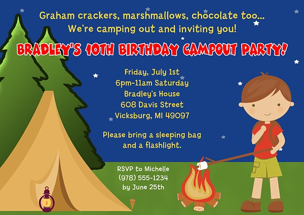 Camp Out Camping Birthday Party Invitations Boy – Kids Birthday Party Invite