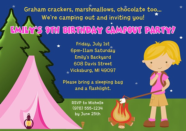 Camp Out Camping Birthday Party Invitations Girl – Camping Birthday Invitations