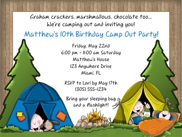 camp out camping birthday party invitations - Camping Party Invitations