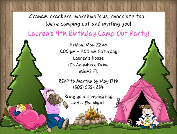Camp Out Camping Birthday Party Invitations Girl 2 – Camping Birthday Invitations
