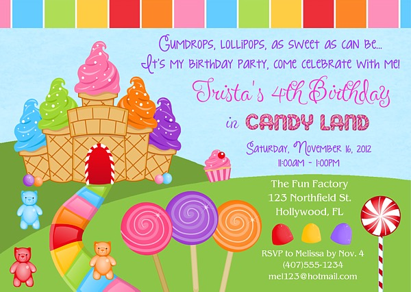 Candy Land Birthday Party Invitations Chocolate Kids