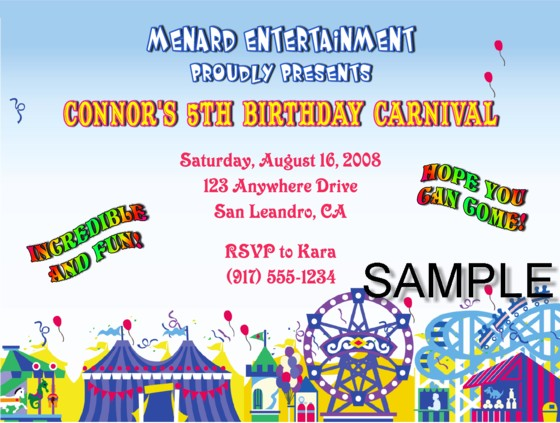 Carnival Amusement Park Birthday Party Invitations Carnival Kids