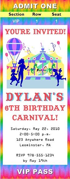 Carnival Amusement Park Birthday Party Ticket Invitations